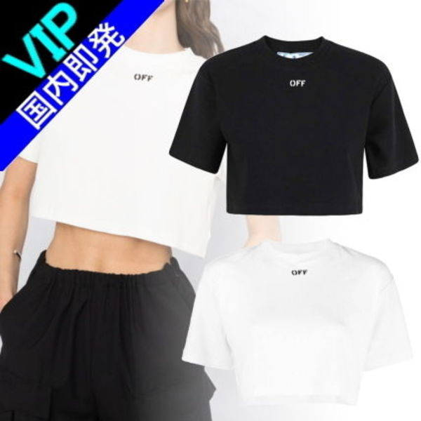 ◆◆VIP◆◆ Off-White CROPPED ロゴ リブ Tシャツ