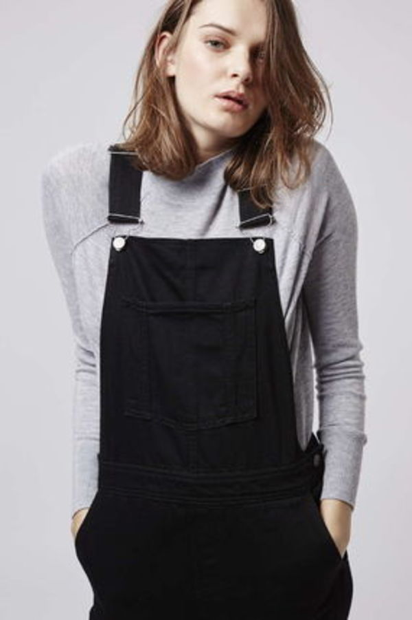《すっきりサロペット♪》☆TOPSHOP☆Clean Black Slim Dungaree