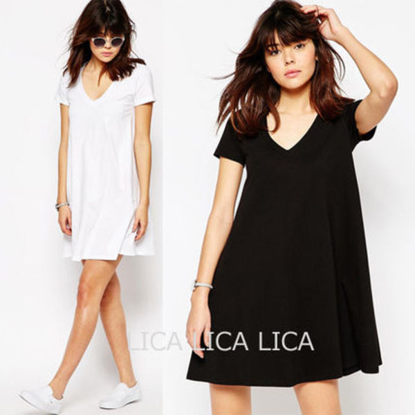送料無料・国内発送ASOS V Neck Swing T-shirt Dress