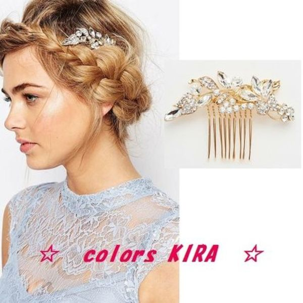 ASOS★Love Rocks★Leaf & Crystal Hair Clip♪