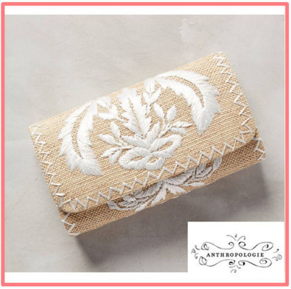 関税・送料込【Anthropologie】2015SSCrested Raffia Clutch