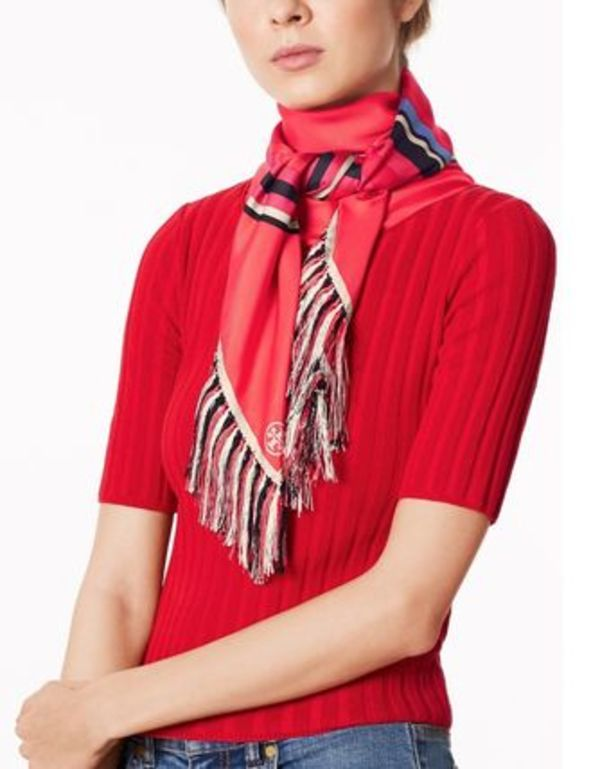 Tory Burch  FRET-PRINT FRINGED SQUARE SCARF