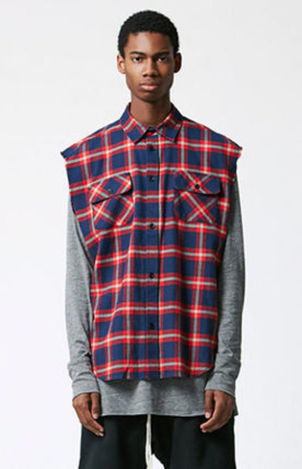 SS16 FOG FEAR OF GOD SLEEVELESS PLAID FUNNELED SHIRT送料無料