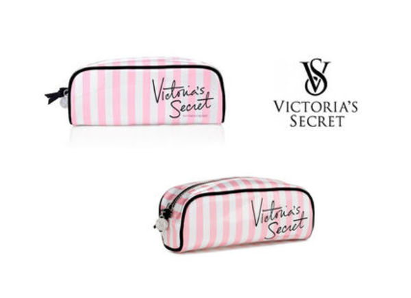 【即発!】*Victorias Secret* Pink Stripe Beauty Bag(小)