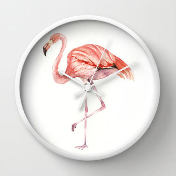 Society6★置き時計・掛け時計★Pink Flamingo by Goosi