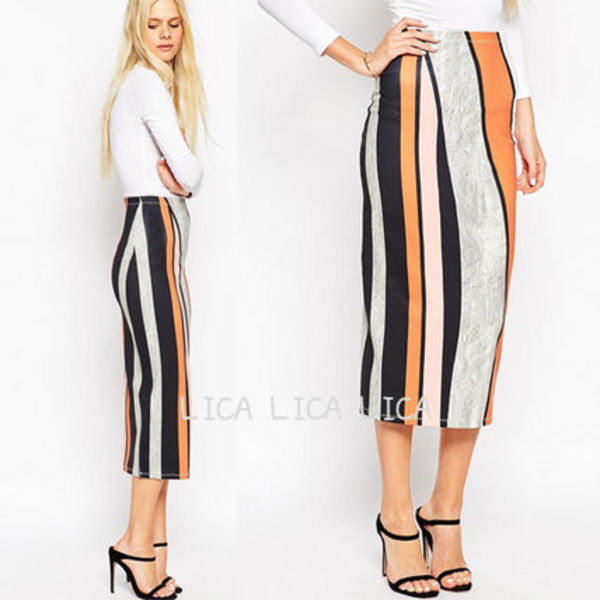 送料無料・国内発送ASOS Midi Pencil Skirt in Abstract Stripe
