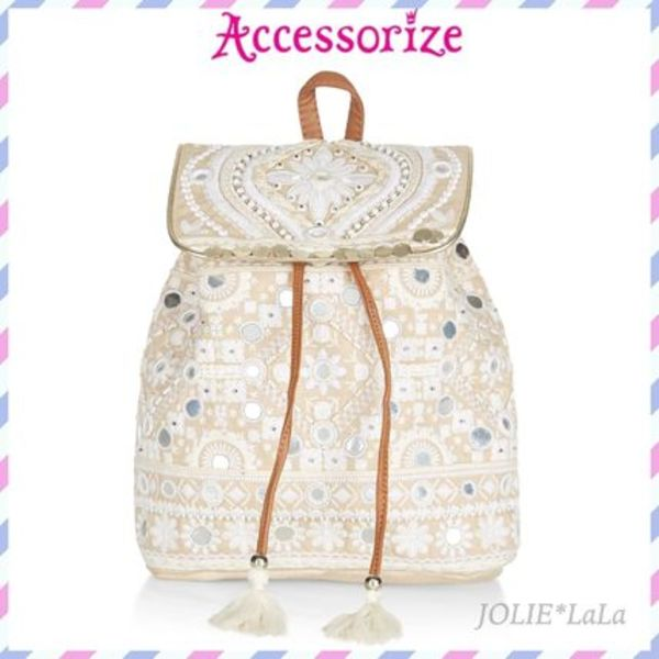 ☆Accessorize☆安心国内発送!ビーズ刺繍ミラーバックパック♪