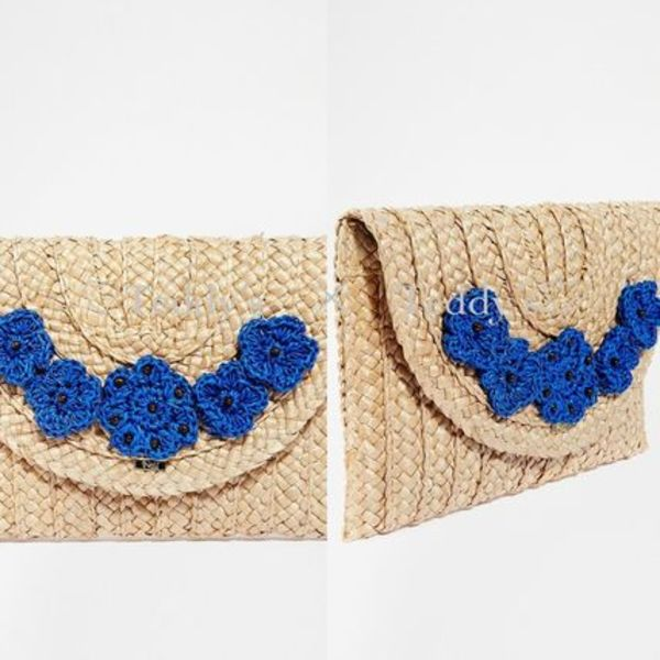 【最安値】☆ASOS☆Nali Straw Clutch Bag With Flowers