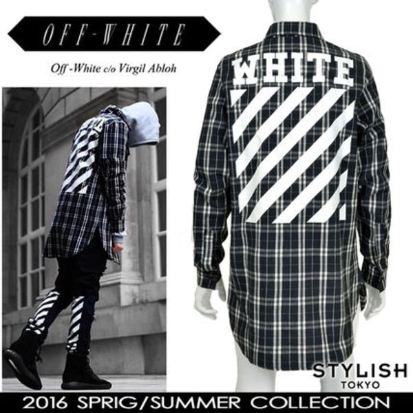 OFF-WHITE 16SS 黒 白 ストライププリント ロングチェックシャツ