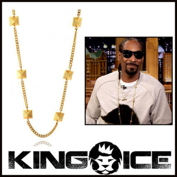 "Tyga愛用BR ""King Ice"" 14K GOLD PYRAMID CURB ネックレス"