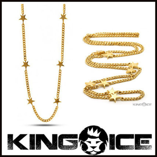 "Tyga愛用BR ""King Ice"" 14K GOLD STAR CURB ネックレス"