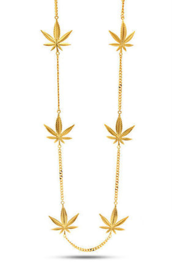 大人気 Jungl Julz 18K Gold Weed Leaf Charm Necklace