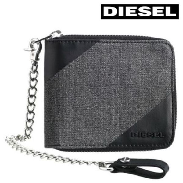 2016SS新作 ★ DIESEL ★ CHAIN ZIPPY HIRESH S 二つ折り財布