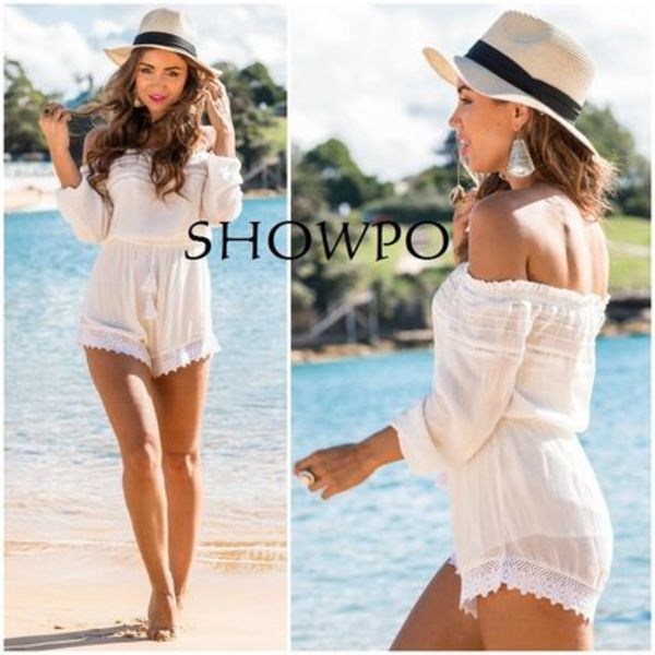 SHOWPO☆オフショルダーLet It Drop playsuit in whiteロンパ