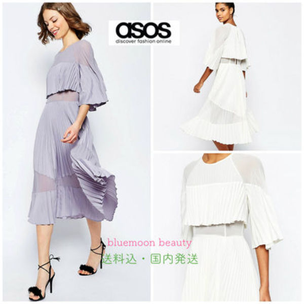 関税・送料込★ASOS Pleated Sheer And Solid Crop Top  Dress