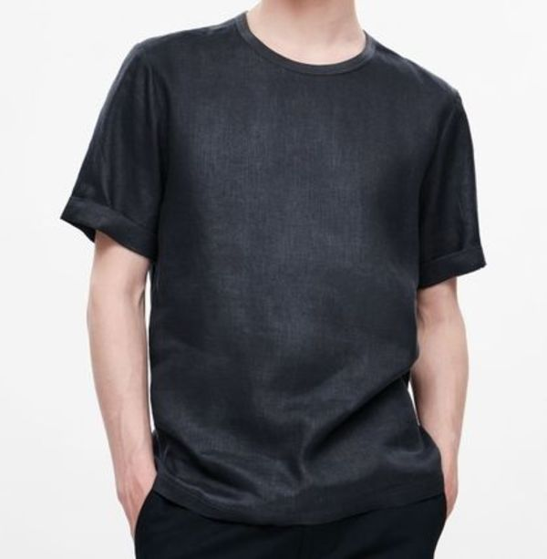 """COS MEN""OVERSIZED HEMP T-SHIRT BLACK"