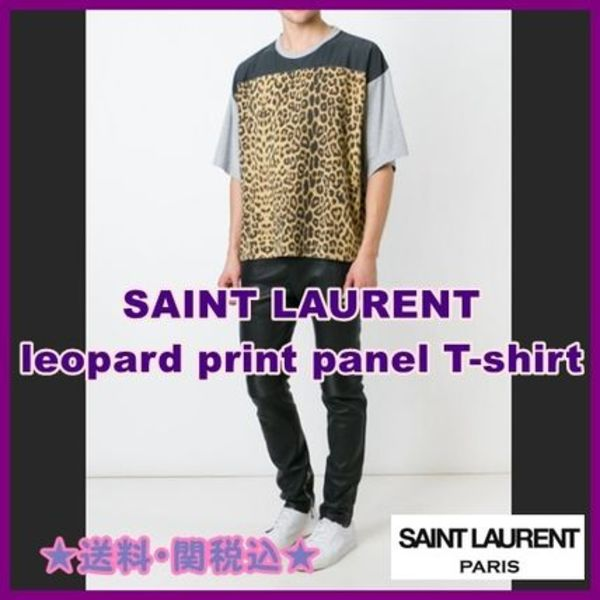 在庫わずか!!★SAINT LAURENT leopard print panel T-shirt★