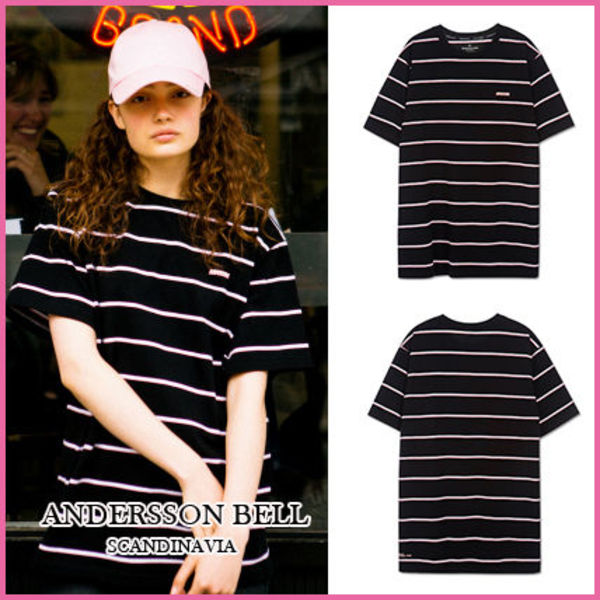 【ANDERSSON BELL】正規品★UNISEXボーダーTシャツBLACK/追跡付