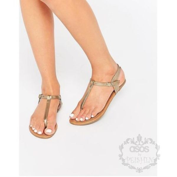 ★ASOSセレクト★Daisy Street Gold Toe Post Flat Sandals