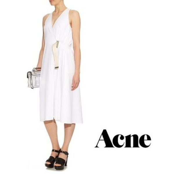 【VIP SALE】Acne 2016SS Chen Pop wrap cotton-poplin dress