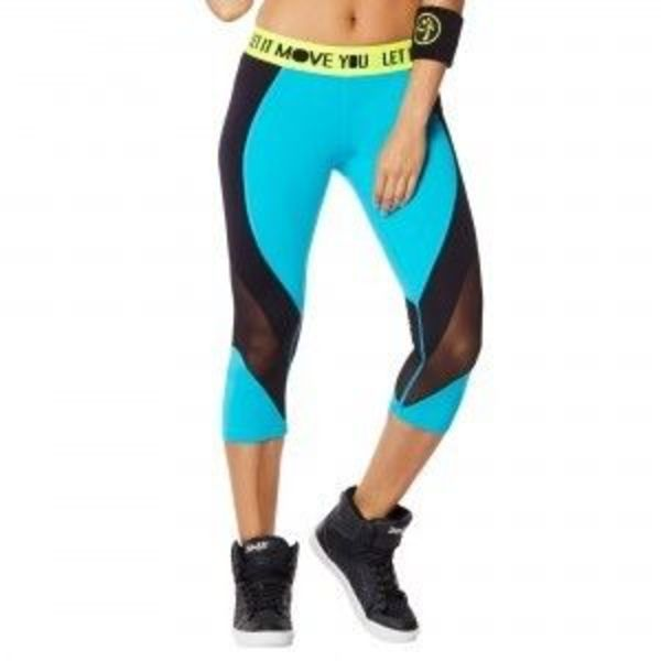 追跡可☆Waterfall♪You Glow Mesh Capri Leggings
