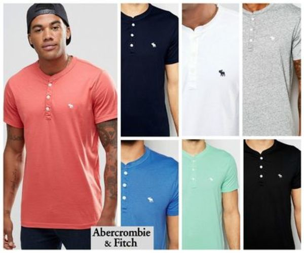 Abercrombie & Fitchヘンリーネック半袖Tシャツ7色☆関税送料込