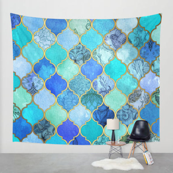 Society6◆タペストリー◆Cobalt Blue, Aqua & Gold Decorative