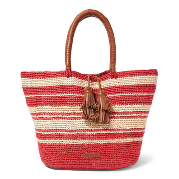 2016新作かごバッグ[Ralph Lauren]Striped Woven Raffia Tote