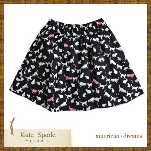 kate spade 大人もOK! 猫柄の可愛いスカート♪