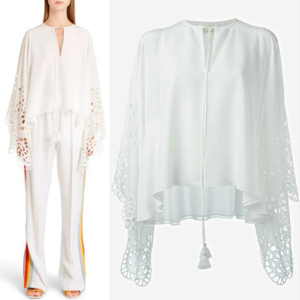 16SS C072 CHLOE perforated angel sleeve top