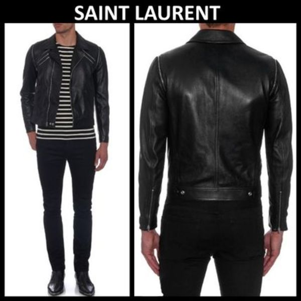 2015秋冬☆SAINT LAURENT☆Removable-sleeves leather jacket