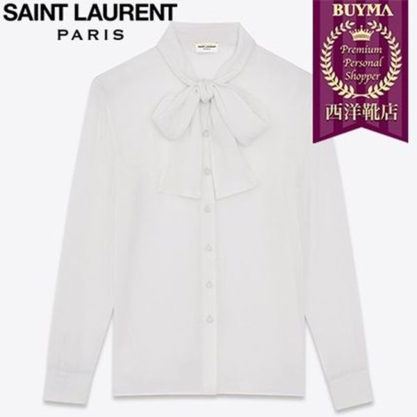 SAINT LAURENT 16AW┃SIGNATURE LAVALLIERE BLOUSE