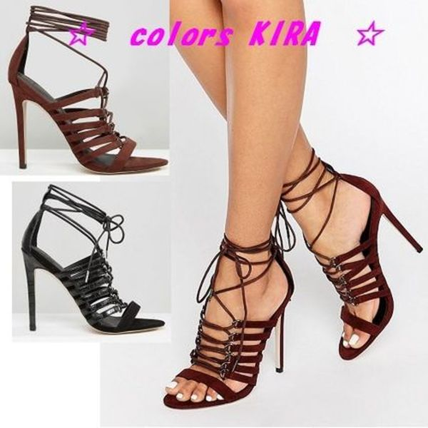 ASOS HURRICANE Lace Up Heeled Sandals♪2色