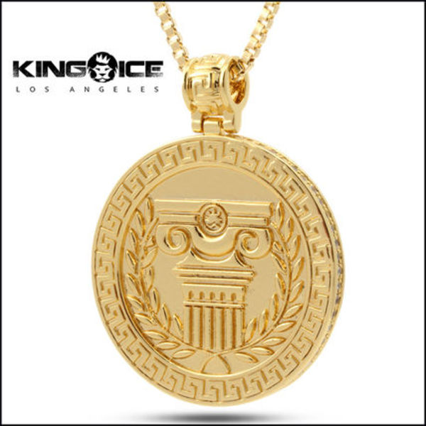 King Ice★14K Gold Spartan Medallion ネックレス
