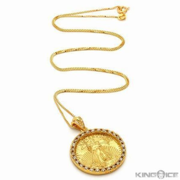 HipHopアーティスト愛用♪King Ice Gold coin ネックレス