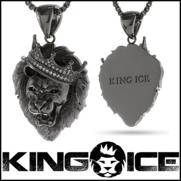 "Tyga愛用BR ""King Ice"" Black Rhodium Roaring Lion ネックレス"