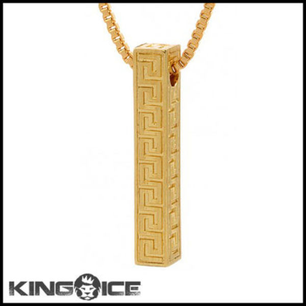 "国内発送 ""King Ice"" 14K GOLD GREEK KEY PILLAR ネックレス"