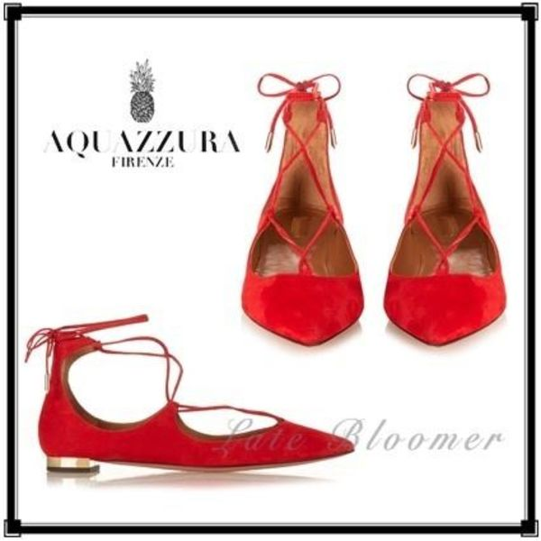 ★関税・送料込★ 【Aquazzura】Christy suede flats レッド