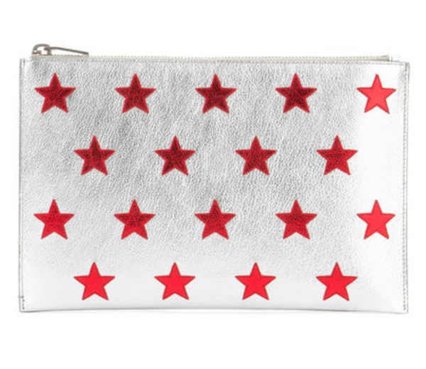 【関税負担】 SAINT LAURENT 16SS CLUTCH SILVER/RED STAR