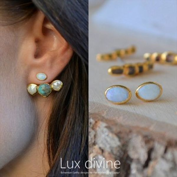 オパール Electroformed in 24kt Gold  ピアス★Luxdivine