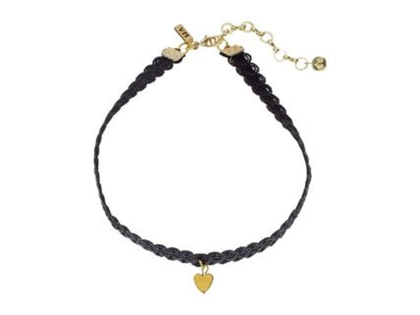 関税、送料込★Black Lace Choker with Gold Heart かわいい!!