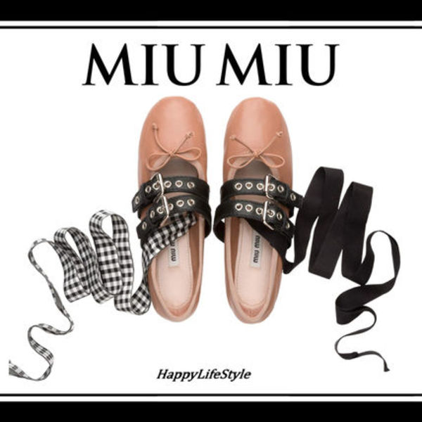 甘辛MIX◇Nappa leather BALLERINAS シューズ◇MiuMiu