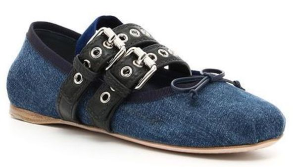 ☆MiuMiu Denim And Leather Ballerinas