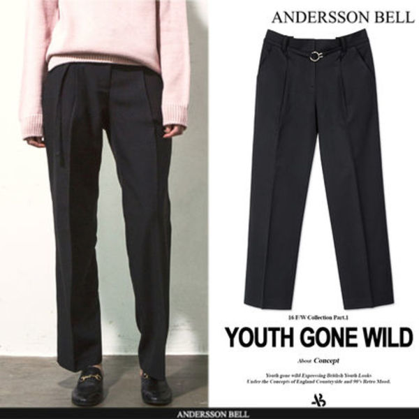 ★F/W ★ANDERSSON BELL★RING BELT TROUSERS  - BLACK