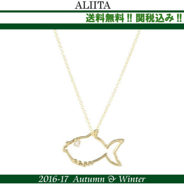 関税込,ALIITA(アリータ)Fish 9kt gold necklace with diamond