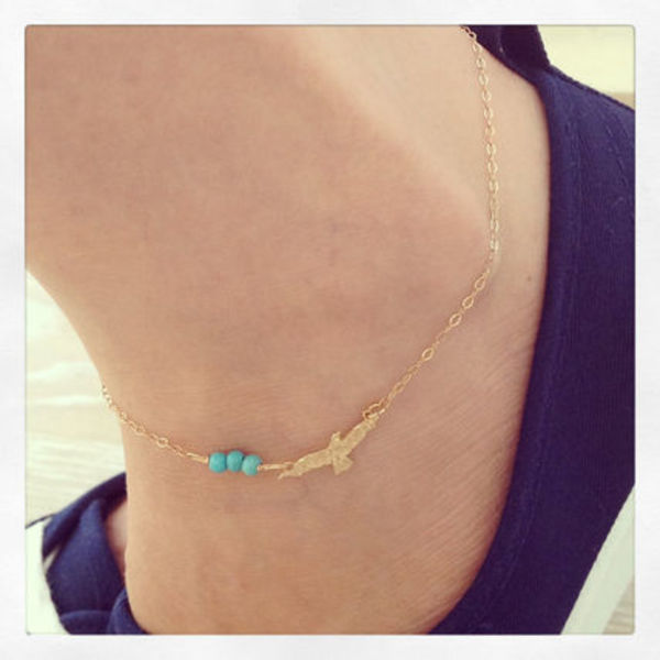 Seagull and Turquoise ankle Bracelet