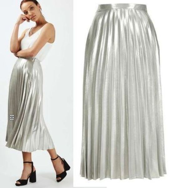 最新作★Metallic Pleat Ankle Grazer Skirt