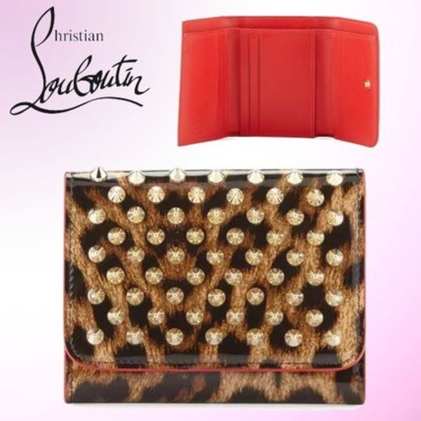 2016AW☆ルブタン☆Macaron Mini Patent Leather Spikes Wallet
