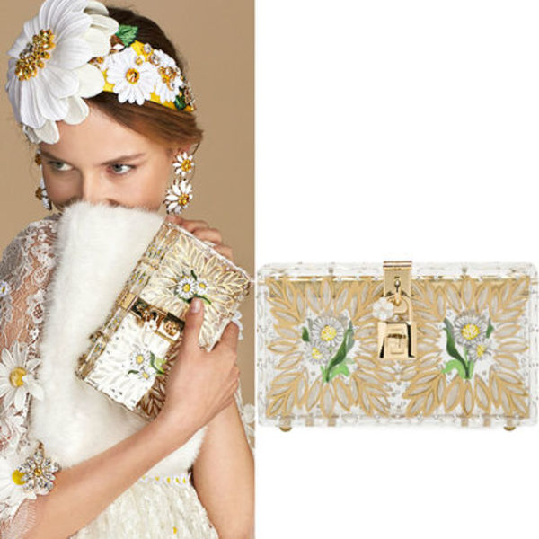 16SS DG457 BOHEMIAN PLEXIGLASS 'DOLCE BOX' CLUTCH BAG