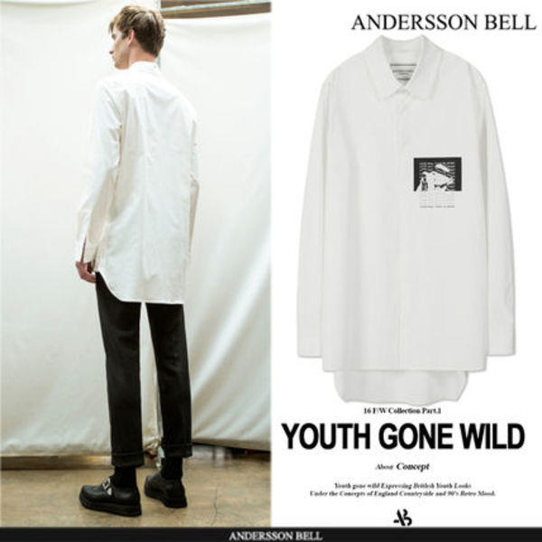 ★F/W ★ANDERSSON BELL★PRINTED LONG WHITE SHIRT  -WHITE